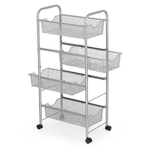 NEX Storage Cart Organizer with Drawers Basket Wheels Durable Mesh Wire Rolling Cart for Home Kitchen Bathroom Laundry Storage