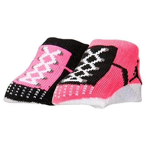 Nike Jordan Jumpman 23 Baby Booties, Pink Black, 0-6 Month, 2 Pair.