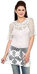 Rvestir Women's Cotton Tunic Top (OM095_L, White)