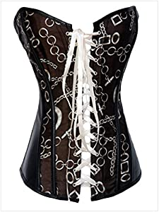 Tr Fashion Chain Pattern Brown Lace-up Women's Shapewear Waist Cincher Corset (Large, Brown)