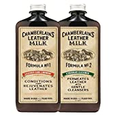 Leather Conditioner + Cleaner Kit (2-Formula SET) Liniment No. 1 & Cleaner No. 2. Now in 2 Sizes! Treatment for Handbags, Purses, Sofas, Jackets, Shoes, Boots, Car Seats & More! 2 FREE Cleaning Pads!