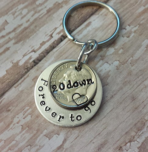Two-1996-Dimes-for-20-Down-Forever-To-Go-Key-Chain-Anniversary-Gift