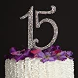 Quinceanera Number 15 Cake Topper - Rhinestone Metal Fifteenth Birthday Quinceañera Decoration (Silver)