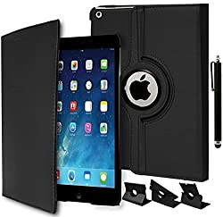 iPad Air Case, Bastex Heavy Duty Kickstand Protective Case - Black Design Protective Kickstand Folio Case with Swivel Rotating Stand for Apple iPad Air [Includes a Stylus]