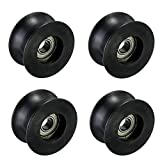 Letool 4pcs 608zz coated pa66 nylon 1.57inches bearing roller wheel 8x40x20mm U type groove pulley (Color: Black, Tamaño: 8*40*20mm)
