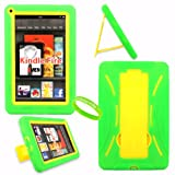 Cellularvilla Tm Combo Case for Amazon Kindle Fire Green Yellow Hybrid Armor Kickstand Hard Soft Case Cover+cellularvilla Branded Wristband. Note: This Case Is Only Compatible with Amazon Kindle Fire and Will Not Fit Kindle Fire Hd.