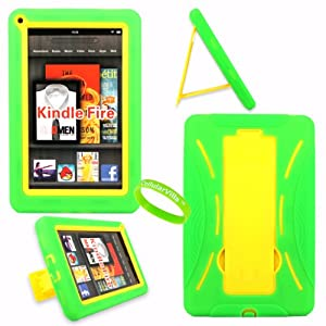 Cellularvilla Tm Combo Case for Amazon Kindle Fire Green Yellow Hybrid Armor Kickstand Hard Soft Case Cover+Cellularvilla Branded Wristband.