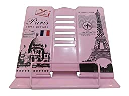 Cartoon Adjustable Foldable Folding Book Music TabletStand Bookend Holder Reading Rack Lounger Book Clip Reader Tool Office Organizer Lift- Paris Impression Eiffel Towel Design (pink)