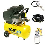Wolf Air Sioux 24 Litre, 2.5HP Induction Motor, 9.5CFM, 230v, MWP 116psi Air Compressor Complete with New Ultimate Kit Includes: 10 Metre Heavy Duty Rubber Air Hose , Gold Syphon Feed Spray Gun and Air Tyre Inflator