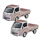 ダイハツ ハイゼット トラック (DAIHATSU hijet truck) 1/32 プルバックミニカー 2色セット ライトローズMM×ライトローズMM