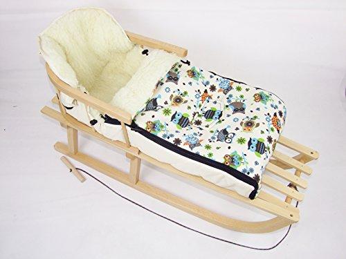Babys-Dreams *KOMBIPAKET* HOLZSCHLITTEN mit Rückenlehne incl. Zugleine + WINTERFUSSSACK 90cm EULEN §4 aus Lammwolle für Kinderwagen - WOLLE - Lehne -Kinderschlitten - Schlitten aus Holz Kinderschlitten NEU