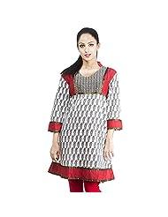Rama Cotton White Printed Women's Straight Kurta (14RAMA1421015)