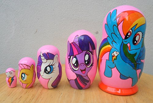 """My Little Pony"" Russian Nesting Doll Set Of 5 Piece. Hand-Painted In Russia."