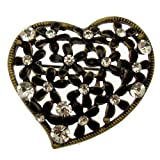 Acosta - Vintage Style Black Enamel & Crystal - Floral Heart Brooch (Gold Tone) - Gift Boxed