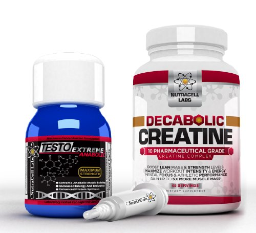 Anabolic Muscle Stack: Decabolic Creatine & Testo Extreme Anabolic - Strongest Legal Testosterone Booster / 10 Blend Creatine Powder