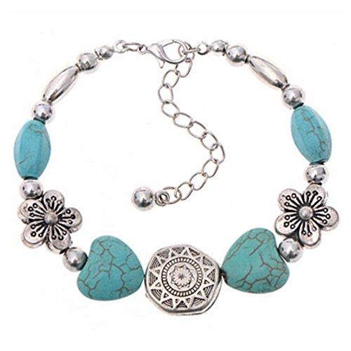 DDLBiz Perline turchese monili braccialetto Handmade Accessori di moda per donna (D)