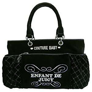 Juicy Couture Black Velour Baby Diaper Bag