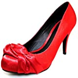 Qupid Royale-39 Red Satin Round Toe Platform Pumps