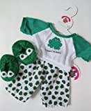 Green Frog PJ's & Slippers teddy Bear clothes fit build a bear factory