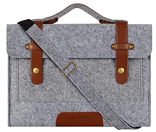 10. Mosiso MacBook Shoulder Bag Briefcase, Felt Fabric Sleeve Handbag Carry Case Cover Only for New MacBook 12 Inch with Retina Display, Gray