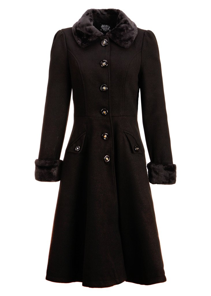 Women's Black Faux Fur Collar Vintage Dress Coat Winter Jacket