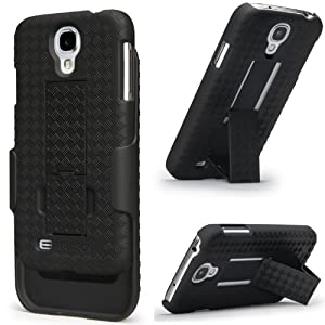 Galaxy S4 Case, i-BLASON Transformer Hard Shell Case Holster Combo For Samsung Galaxy S4 i9500 with Kickstand and Locking Belt Swivel Clip 4G LTE for Samsung Galaxy S4 (Fits AT&T, Sprint, Verizon, T-Mobile) (Black)