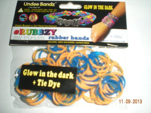 Rubbzy Glow in the Dark Blue and Gold Loose Rubber Bands