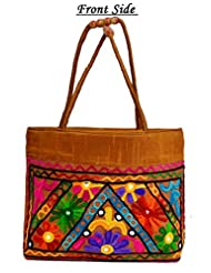 Golden Traditional Ethnic Embroidered Rajasthani Bag Purse Cotton Handbag For Women's