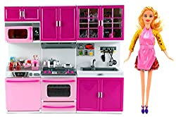 My Happy Kitchen Dishwasher Oven Sink Battery Operated Toy Doll Kitchen Playset W/ Doll, Lights, Sounds, Perfect For Use With 11 12