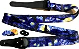 "Van Gogh ""Starry Night"" Guitar Strap Includes - CHRISTMAS BONUS- 2 Strap Locks & 2 Matching Picks. Adjustable Polyester Guitar Strap - Unique Gift For Guitarist - Bass, Electric & Acoustic Guitars"