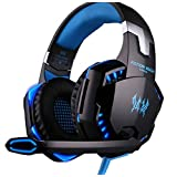 KOTTON EACH G2000 Stereo Gaming Headset for PS4 Xbox One, Bass Over-Ear Headphones (Black Blue) (Color: Black)