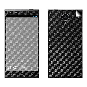 Skintice Designer Mobile Skin Sticker for Gionee E7, Design - Black Carbon Fibre Texture