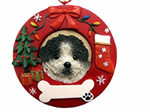 E&S Pets Black and White Shih Tzu Puppy Cut Personalized Christmas Ornament