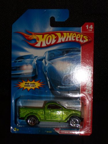 Hot Wheels 2007 098 98 Code Car Series 14 of 24 Dodge Power Wagon Green with Flames 1:64 Scale