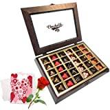 Valentine Chocholik's Belgium Chocolates - Secret Spark Of Love Chocolates With Love Card And Rose