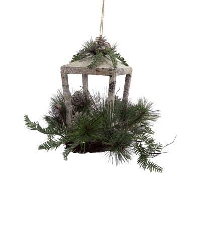 Melrose International Decorative Holiday Birch Lantern, Grey/Green