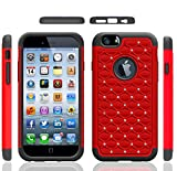 Iphone 6 Case, Meaci® Cellphone Case for Iphone 6 (4.7 Inch) 2 in 1 Case Combo Hybrid Case Glitter/bling Diamond Dual Layer Pc and Silicon Rubber Protective Case (red and black)