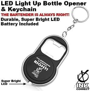 led light up bottle opener keychain black manual can openers kitchen dining. Black Bedroom Furniture Sets. Home Design Ideas