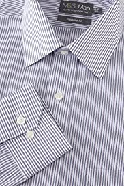 Cotton Rich Non-Iron Ladder Striped Shirt