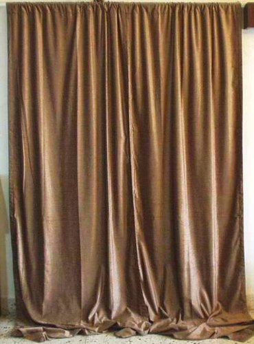 Taupe Velvet home theater Curtains / Drapes / Panels Curtain Length: 100 Inches