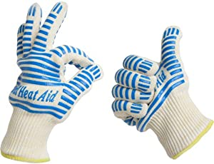 #1 Grill Gloves Withstand Heat up to 662°F - Premium Barbecue & Oven Heat... by Grill Heat Aid
