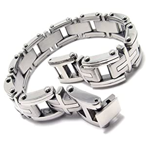 KONOV Heavy Cross Stainless Steel Men's Bracelet, Silver, 9 Inch (with Gift Bag)