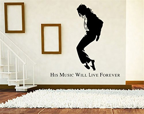 [Lanue Michael Jackson-His Music Will Live Forever Vinyl Art Wall Sticker Home Decor Decal Mural] (Michael Jackson Decorations)
