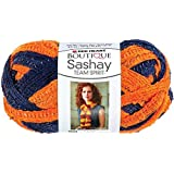 Coats Yarn Red Heart Boutique Sashay Team Spirit Yarn, Orange/Navy