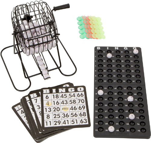 Best Price Blue Ridge Novelty Bingo Set - 9 Cage with Bingo Balls, Ball Rack, 18 Cards, and Chips