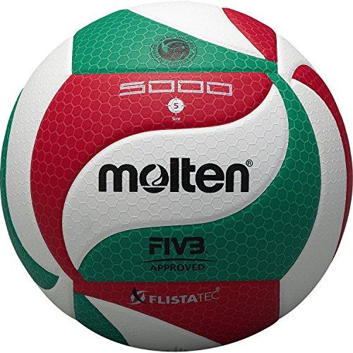 Molten - V5M5000, Pallone da pallavolo, colore: Bianco/Verde/Rosso