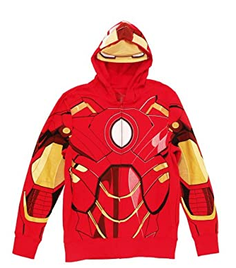 Iron Man Eye Mask Mens Costume Hoodie (Small)