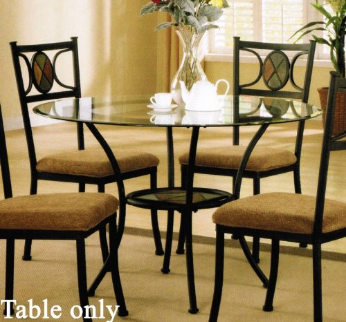 Cheap Metal Dining Table with Glass Top in Dark Bronze Finish (VF_F2003)