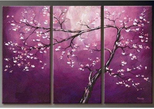 100% Hand-painted Sales Promotion Wood Framed on the Back Purple Flower Tree Home Decoration Landscape Framed Oil Painting on Canvas 3pcs/set