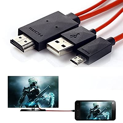 Phone to Tv Cable, Mopo 6.5 Feet Micro USB (MHL) to Male Hdmi Cable for Samsung Galaxy S3/S4/S5, Galaxy Note 2/3 by Mopo